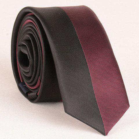 Stylish Two Color Matching Striped Men's Tie - WINE RED