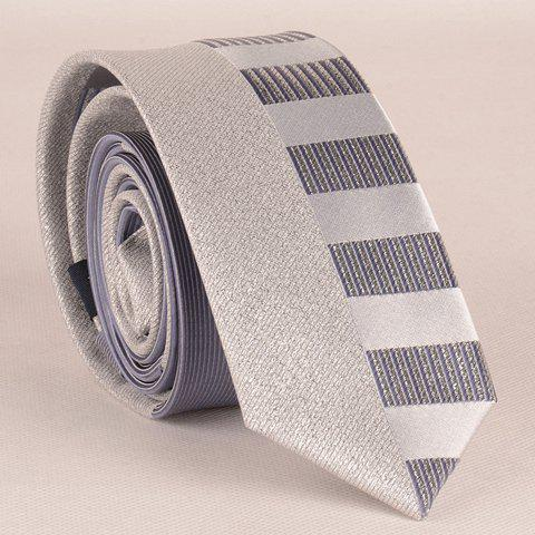 Stylish Shining Silver Thread Short Stripe Pattern Men's Grey Tie - GRAY