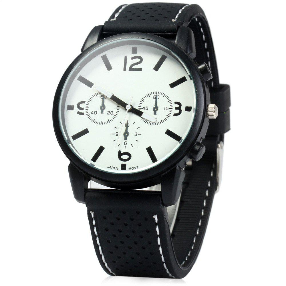 Military Style Men Car Racing Sports Quartz Watch with Silicone Watchband - WHITE