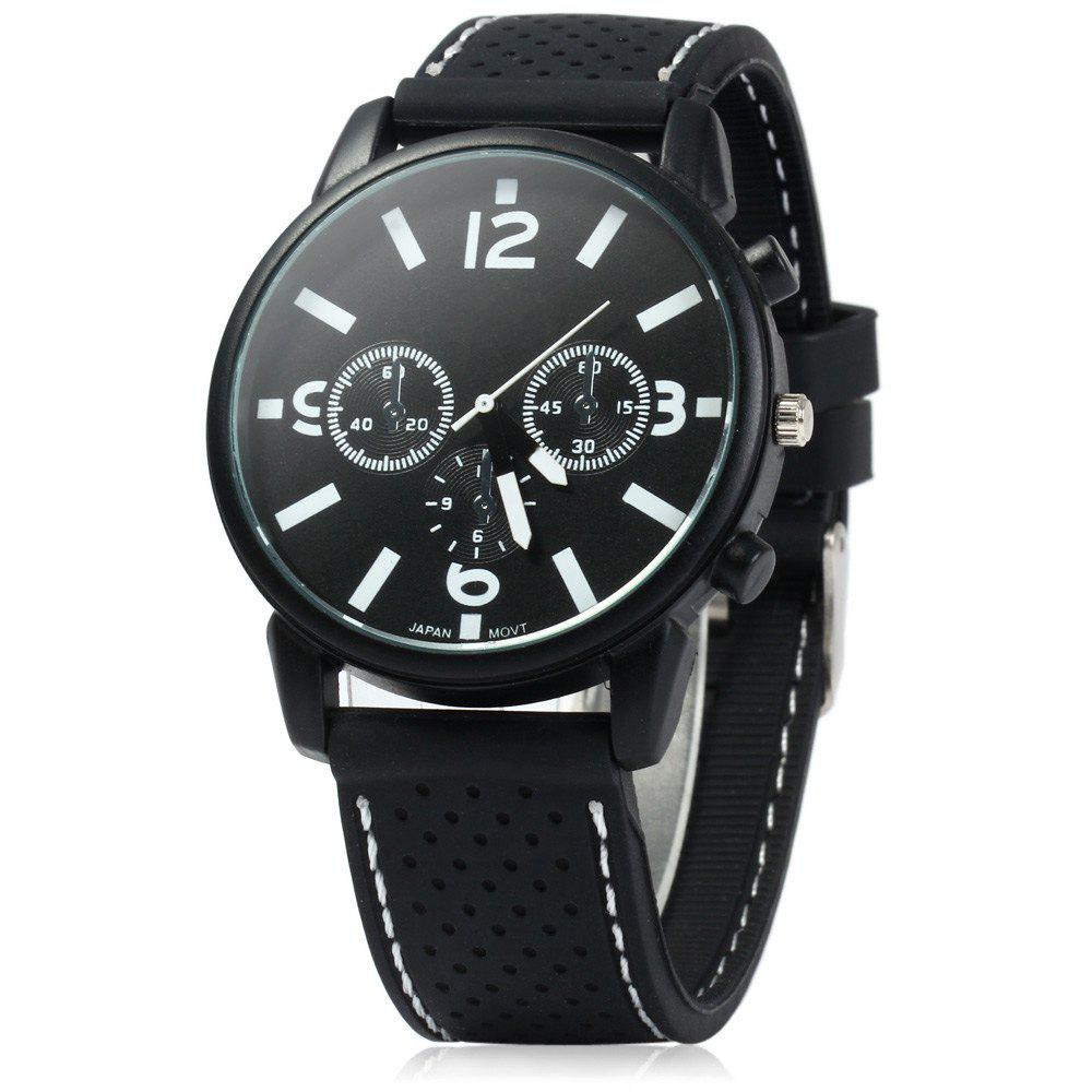 Military Style Men Car Racing Sports Quartz Watch with Silicone Watchband -  BLACK