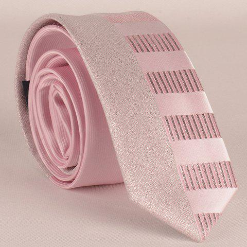 Stylish Shining Silver Thread Short Stripe Pattern Men's Pink Tie - PINK