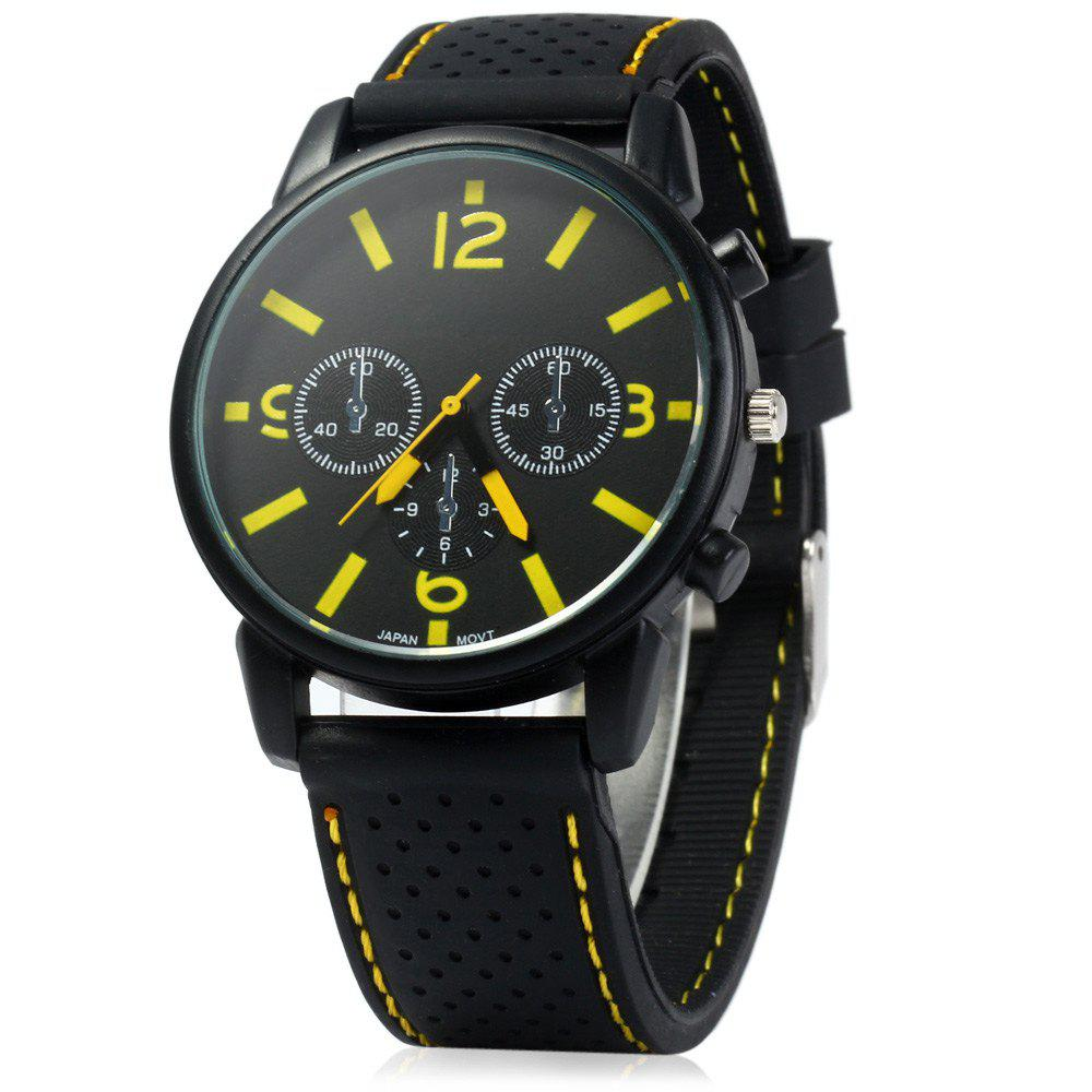 Military Style Men Car Racing Sports Quartz Watch with Silicone Watchband - YELLOW