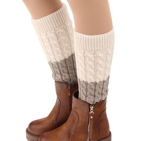 Pair of Chic Two Color Matching Hemp Flowers Women's Knitted Leg Warmers - RANDOM COLOR