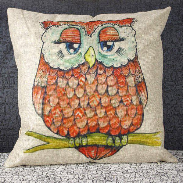 Fashion Square Owl Pattern  Pillowcase(Without Pillow Inner) - COLORMIX