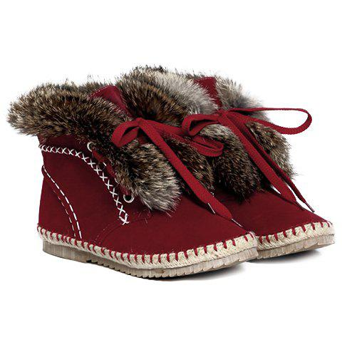 Fashion Lace-Up and Faux Fur Design Snow Boots For Women - RED 36