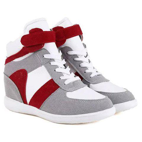 Fashion Color Block and Hook Design Athletic Shoes For Women - 35 RED