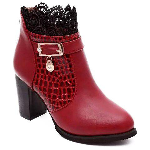 Trendy Lace and Stone Pattern Design Short Boots For Women - WINE RED 40