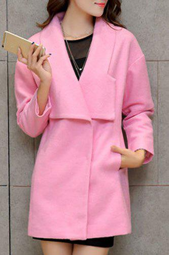 Elegant Turn-Down Collar Loose-Fitting Worsted Coat For Women