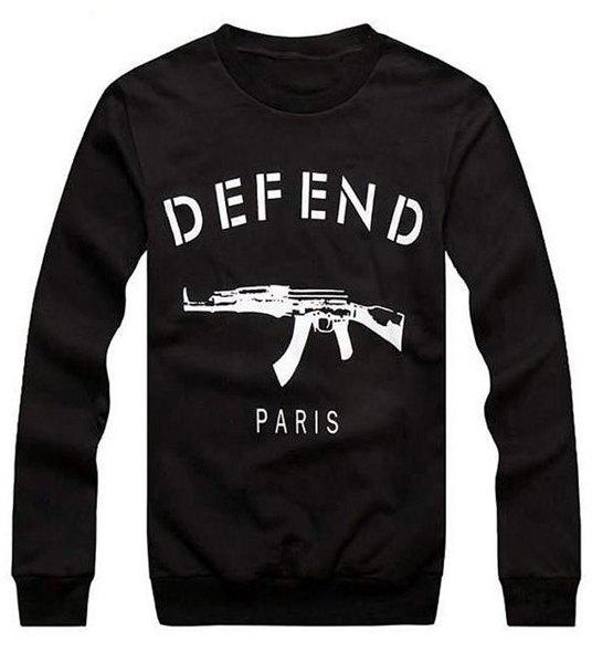 Round Neck Letter and Gun Print Long Sleeve Loose-Fitting Men's Sweatshirt - BLACK M