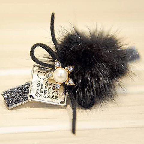 Vintage Rhinestone Faux Pearl Flower Letter Square Hairpin For Women - BLACK