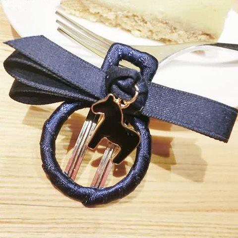Cute Pony Pendant Round Bow Hairpin For Women - DEEP BLUE