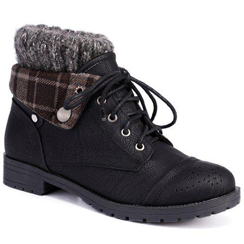 Retro Engraving and Lace-Up Design Swaeter Boots For Women - BLACK 38