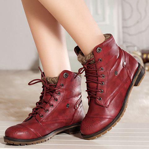 Retro Engraving and Lace-Up Design Sweater Boots For Women - WINE RED 37
