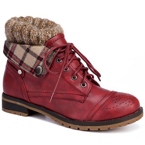 Retro Engraving and Lace-Up Design Sweater Boots For Women - WINE RED 39