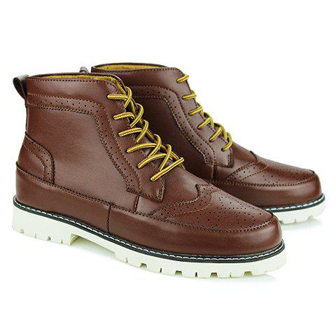Trendy PU Leather and Engraving Design Short Boots For Men - BROWN 40