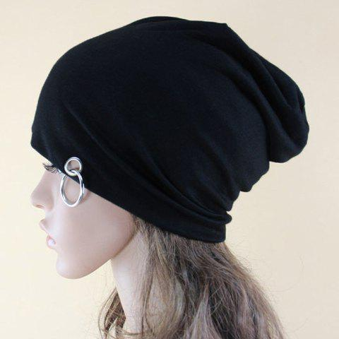 Chic Iron Ring Embellished Solid Color Women's Beanie