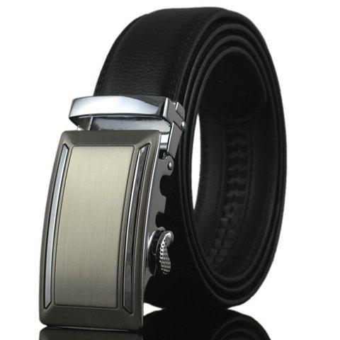 Stylish Metal Bar Inlay Embellished Auto Buckle Men's Belt - BLACK