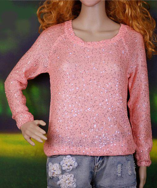 Casual Women's Scoop Neck Long Sleeve Backless Sequines Sweater - PINK ONE SIZE(FIT SIZE XS TO M)