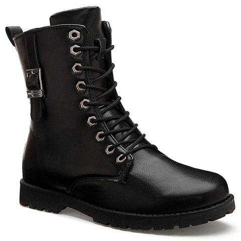 British Style Buckle and Lace-Up Design Combat Boots For Men - BLACK 40