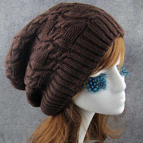 Chic Solid Color Winter Knitted Beanie For Women - COFFEE