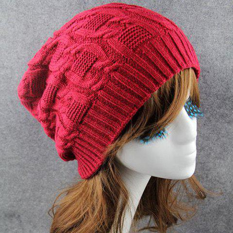 Chic Solid Color Winter Knitted Beanie For Women - CLARET