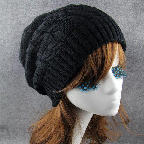 Chic Solid Color Winter Knitted Beanie For Women - BLACK
