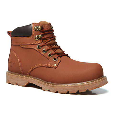 Stylish Stitching and Lace-Up Design Short Boots For Men - LIGHT BROWN 44