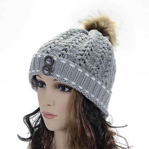 Chic Button and Faux Fur Ball Embellished Hollow Out Knitted Beanie For Women