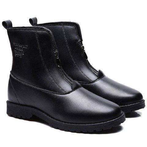 British Style Zipper and Pure Color Design Ankle Boots For Men