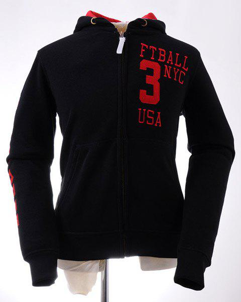 Fashion Drawstring Hooded Letters Embroidered Rib Splicing Slimming Long Sleeves Men's Flocky Hoodie - BLACK L