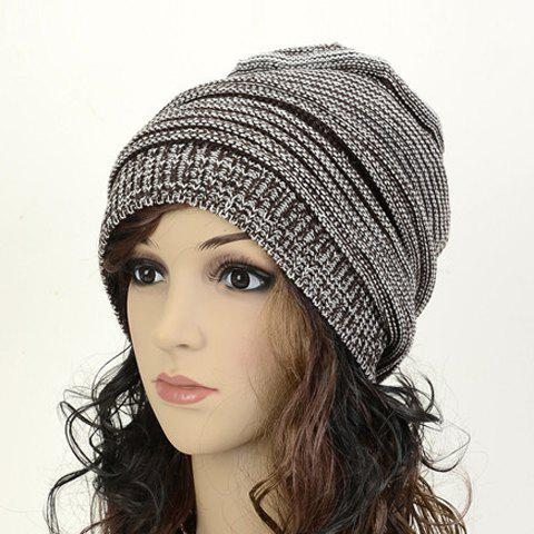 Chic Simple Color Matching Women's Knitted Beanie - COFFEE