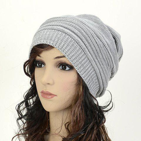 Chic Simple Color Matching Knitted Beanie For Women - GRAY