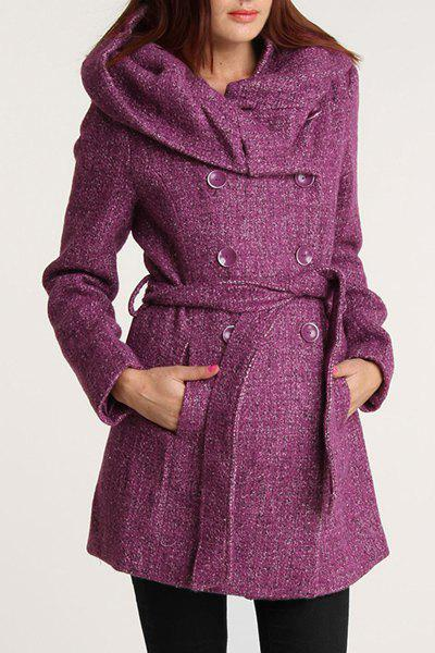Trendy Color Mixture Hooded Belt Self-Tie Peacoat For Women