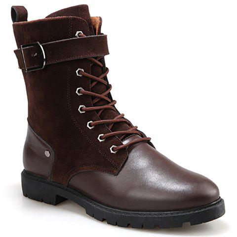 British Style Splicing and Buckle Design Mid-Calf Boots For Men - BROWN 42