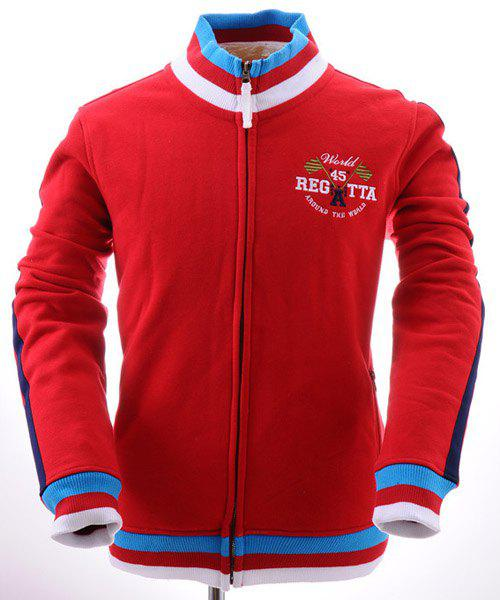 Striped Rib Splicing Letters Embroidered Hit Color Stand Collar Long Sleeves Men's Thicken Sweatshirt - RED L