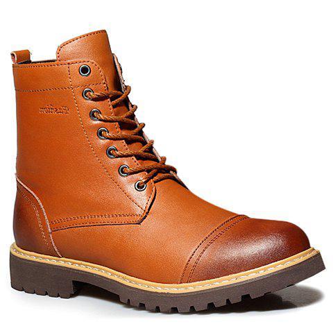 Retro Style Lace-Up and Plush Design Combat Boots For Men - LIGHT BROWN 41