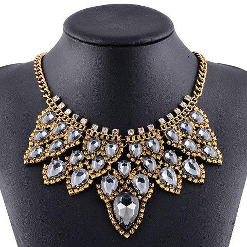 Delicate Hollow Out Faux Crystal Necklace For Women - GOLDEN