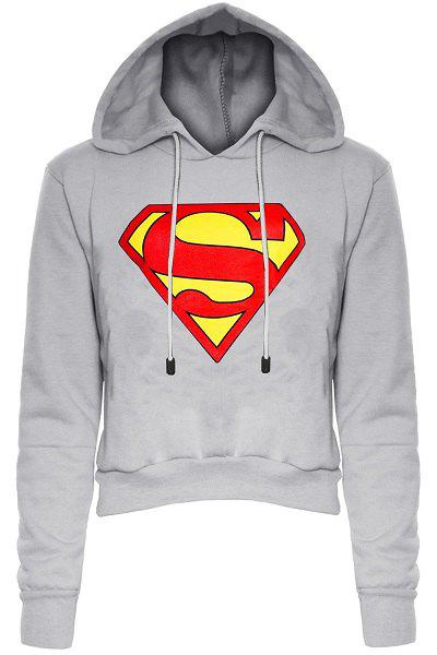Stylish Long Sleeve Hooded Color Block Women's Superman Fleece Cropped Hoodie - LIGHT GRAY L