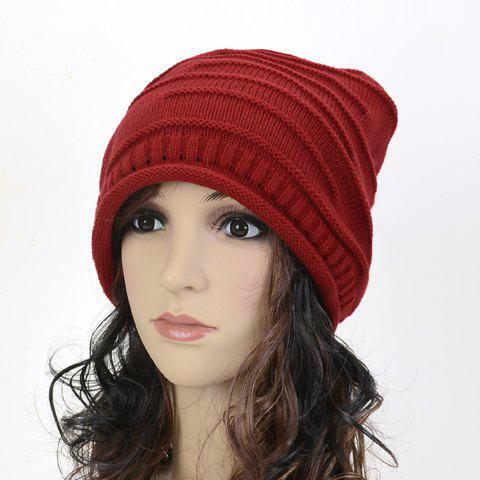 Chic Stripy and Edge Curl Embellished Knitted Beanie For Women - RED