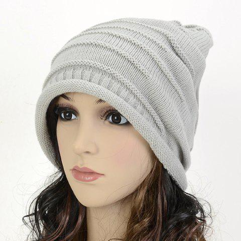 Chic Stripy and Edge Curl Embellished Women's Knitted Beanie - LIGHT GRAY