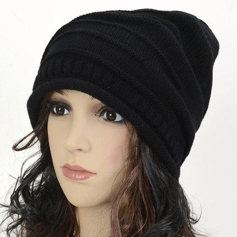 Chic Stripy and Edge Curl Embellished Women's Knitted Beanie - BLACK