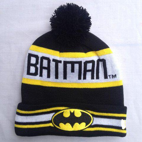Stylish Batman Mark Letters Stripe Pattern Knitted Beanie For Men and Women - BLACK