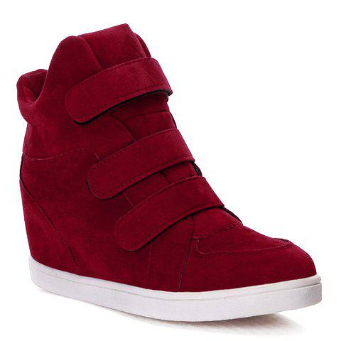Concise Round Toe and Suede Design Athletic Shoes For Women - RED 37