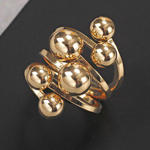 Noble Solid Color Beads Layered Ring For Women - GOLDEN ONE-SIZE