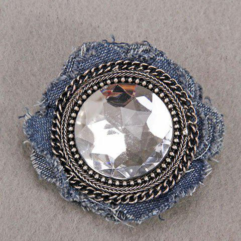 Characteristic Floral Shape Rhinestone Denim Brooch For Women