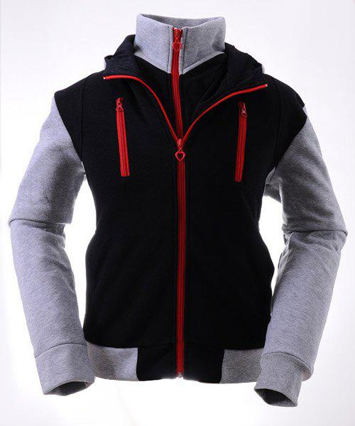Color Block Multi-Zipper Rib Spliced Hooded Long Sleeves Slimming Men's Thicken Faux Twinset Hoodie - BLACK/GREY M