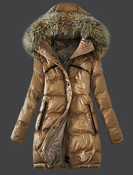 Trendy Long Sleeves Hooded Zippered Women's Coat - LIGHT COFFEE XL
