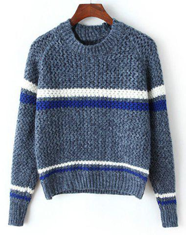 Vintage Women's Striped Round Neck Long Sleeve Sweater - DEEP BLUE ONE SIZE(FIT SIZE XS TO M)