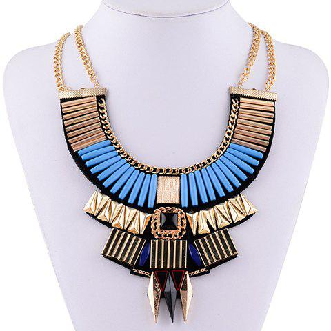 Vintage Layered Geometric Necklace For Women -  BLUE
