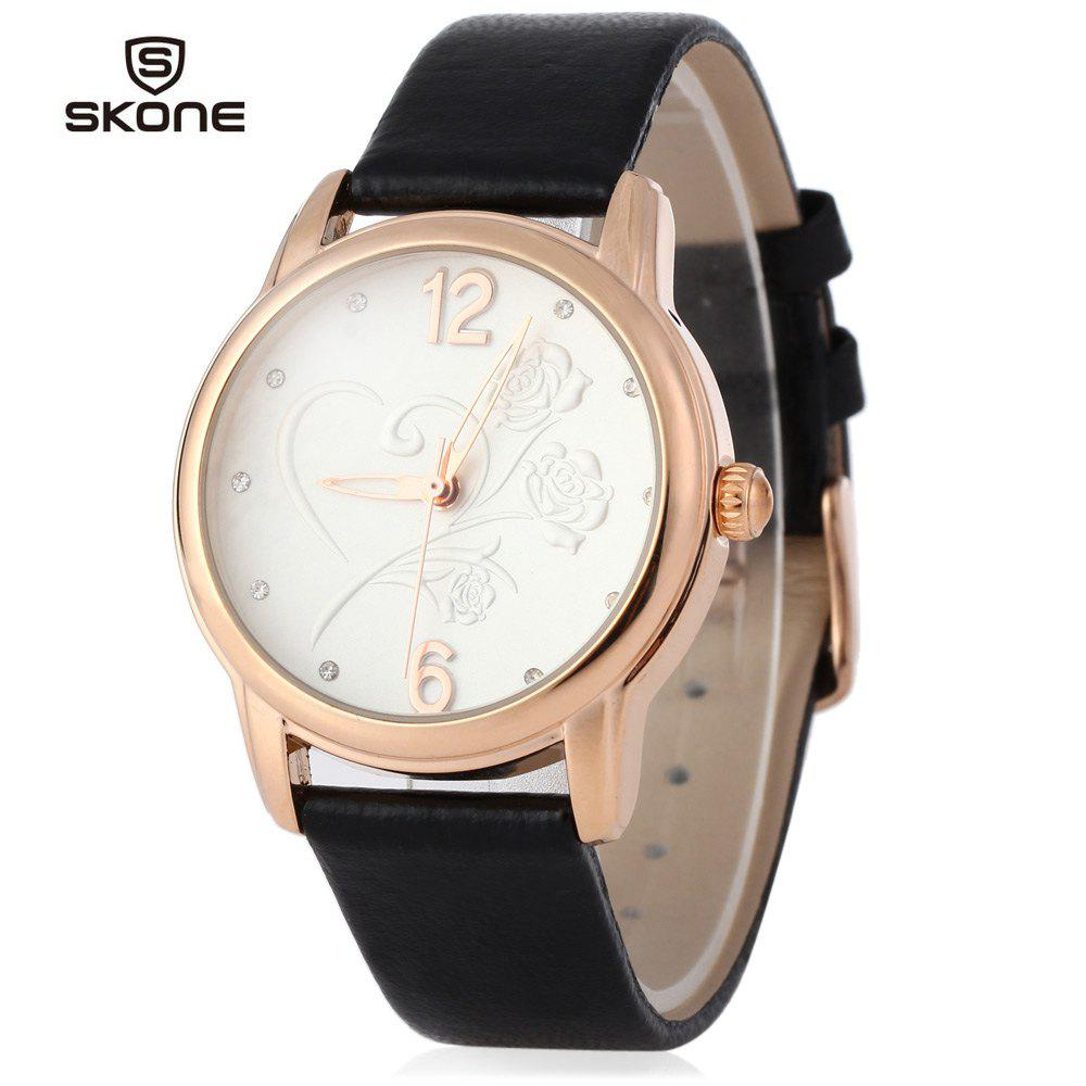 SKONE 9399 Women Big Number Rhinestone Stereo Rose Dial Quartz Watch Hollow Pointer - BLACK